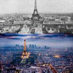 Eiffel Tower, Paris, France. 1900s vs Today.